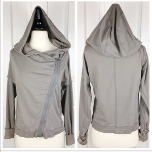 NIKE M Asymmetrical Zipper Hoodie Jacket - Taupe